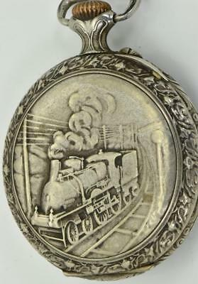 Imperial Russian Railroad officer's award pocket watch.Locomotive chased case
