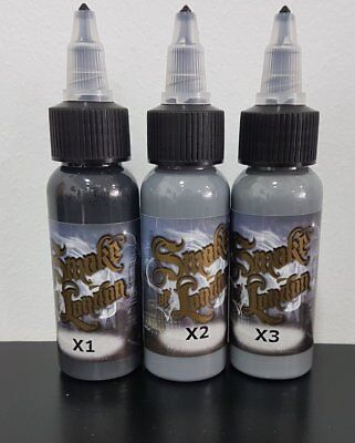 tinta tatuaje tattoo pack de grises smoke london 3 botes 30ml
