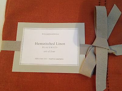 Williams Sonoma Linen Double Hemstitch Placemats Gingerbread Rust Placemat Set 4