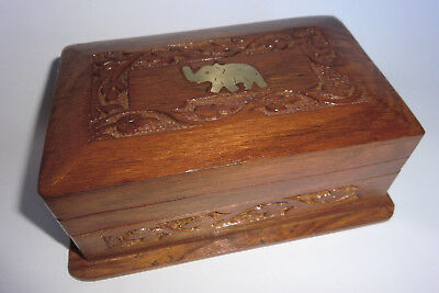Carved secret lock wooden box - with elephant  brass inlay  -All hand worked