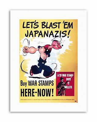 WAR WWII USA POPEYE STAMPS BULLETS Poster Military Canvas art Prints