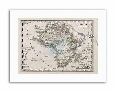 1862 STIELER MAP AFRICA WOOD Picture Vintage Canvas art Prints