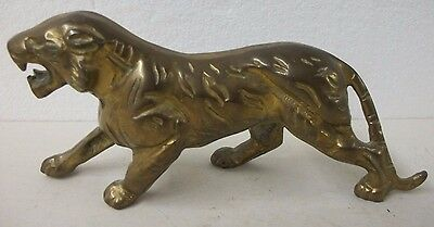 Vintage Heavy Cast Bronze Brass or Copper Striped TIGER Cat Figurine Mouth Open