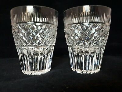 A Pair of lead cut crystal glass tumblers shot glasses  (12g)