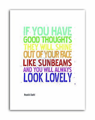 TYPE TEXT GRAPHIC GOOD THOUGHTS ROALD DAHL Quote Canvas art Prints