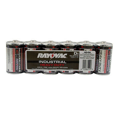 Pack 6, Rayovac Heavy Duty Industrial Batteries, D Size,PartNo F20007 JonesSteph