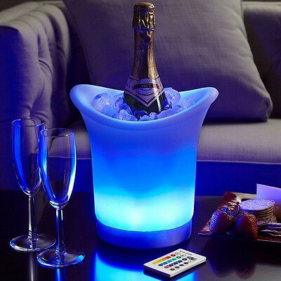 LED Colour Changing Ice Bucket Champagne Wine Drinks Cooler Retro Party Bar Xmas