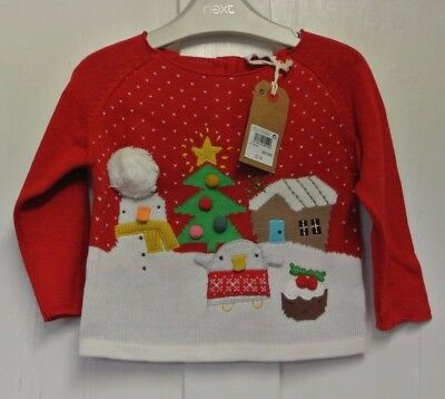 New Next Christmas baby girls  Jumper Red up to 6-9 months
