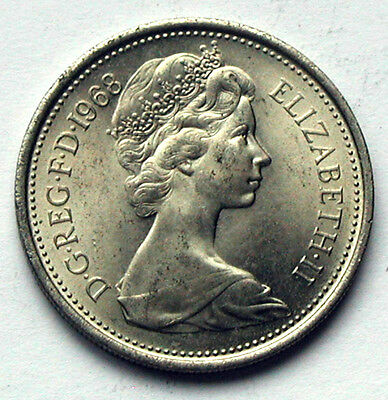 1968 UK (British) Elizabeth II Coin - Five Pence (5p) - UNC - mint lustre