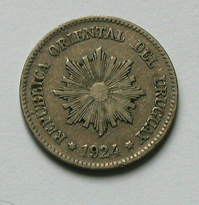 1924 URUGUAY Coin - 2 Centesimos - Poissy mint mark lightning bolt (on reverse)