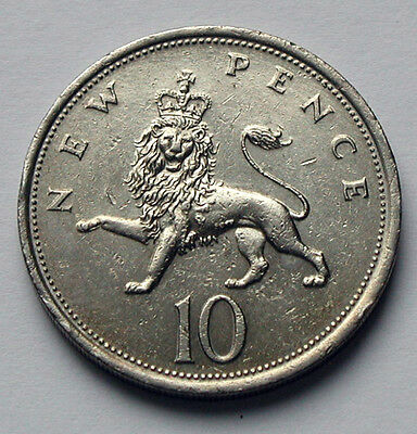 1976 UK (British) Elizabeth II Coin 10 Pence - contact marks - king lion animal
