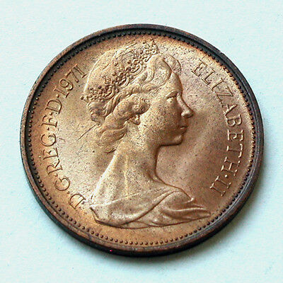 1971 UK (British) Elizabeth II Coin - 2 Pence (2p) - UNC - terrific lustre/tone