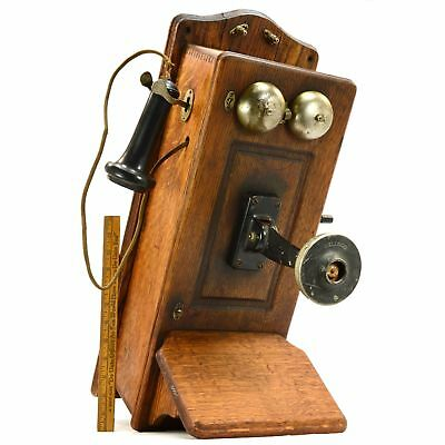Antique WESTERN ELECTRIC OAK WALL PHONE No. 317-H Cathedral-Top KELLOGG c.1907