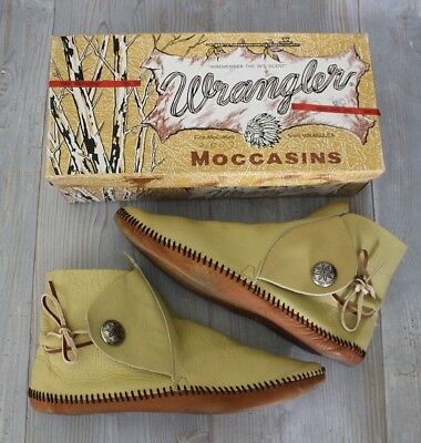 VTG 80s Wrangler Hippie Boho Native Soft Sole Moccasin Booties 9