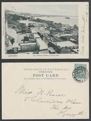 Gibraltar KE7 1/2d 1903 Old UB Postcard The Alameda Gardens & Dock Yard Dockyard