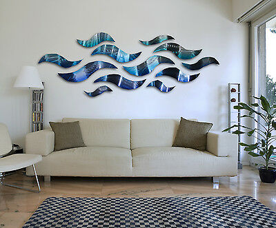"""Rip Tide"" Blue Metal Wall Art Sculpture Modern Abstract Ocean Wave Home Decor"