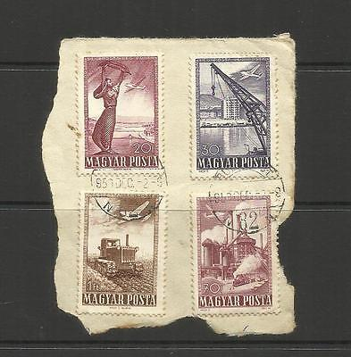 Hungary  ~  1950 Air Mail (Part Set Used) On Piece