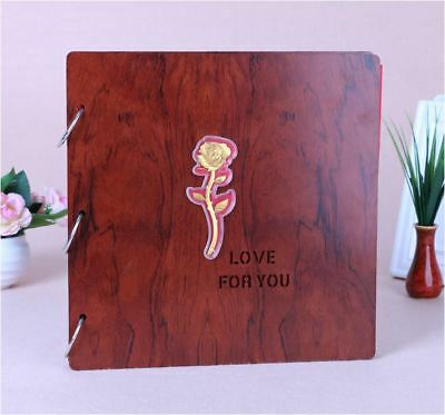 DIY 27cm Square BROWN Wood Cover 3Ring Photo Album Wedding Scrapbook 18KGP ROSE