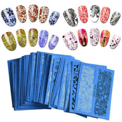 48 Sheet/Lots Flower Lace Nail Art Water Transfer Decal Sticker Tips Fashion Hot