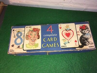 Vintage Whitman Publishing Co. Card Game Box Old Maid Crazy Eights Hearts Rummy