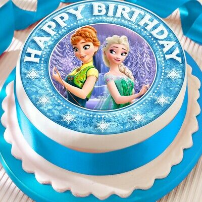 Frozen Fever Anna Elsa Edible Cake Topper Decoration Precut Happy Birthday Borde