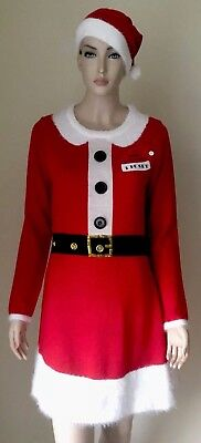 8d9a809494d1 NWT Allison Brittney Cute Ugly Christmas Sweater Dress M Mrs Santa Red w/  Hat