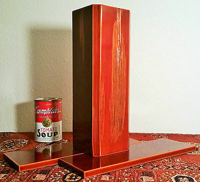 RED japanese ikebana wood carved lacquered hanaire vase vtg stand copper liner