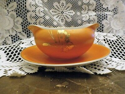 Vintage Persimmon Dorothy Thorpe Gravy Bowl attached double sided