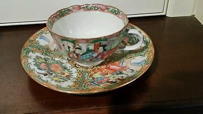 Vintage Perfect & Quality Canton Mandarin Rose Cup & Saucer Cantonese Scene Qing