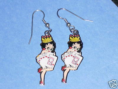 BETTY BOOP  'Royal Flush gambler' pose - earrings GIFT BOXED