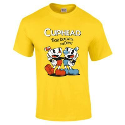Teacup Cuphead And Mugman Advanture Game Yellow T-shirt Cosplay Costume