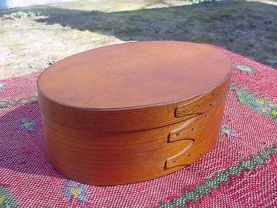 Antique Shaker Lidded Oval Box Handmade Maple with Copper Nails ~ Great Color