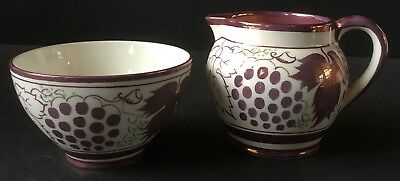 Vintage Gray's Pottery Pink Luster Grapes Creamer and Sugar Bowl