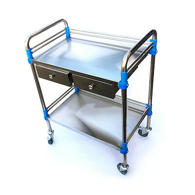 Hospital Medical Serving Dental Trolley Cart Two Layers with 2 Drawers Silver SH