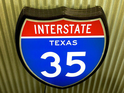 Highway Interstate Texas 35 Light Up Retro Sign old chrome led ALL NEW !!!
