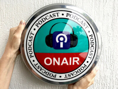 """ON AIR Podcast Light Up 12"""" old chrome LED domed Sign Incl Mounting Template"""