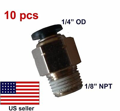 "10 pcs 1/4""OD, 1/8""NPT Pneumatic Push-to-connect Straight Male Fitting (#02-003)"