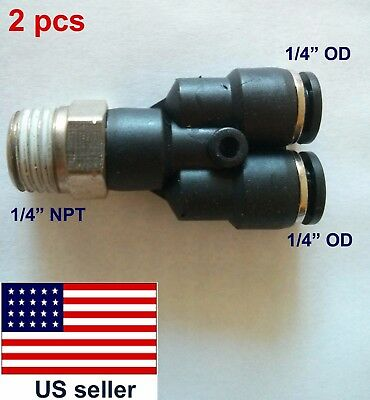 "2 pcs OD 1/4"",1/4""NPT, Pneumatic Push-to-connect Male Y fitting (01-010)"