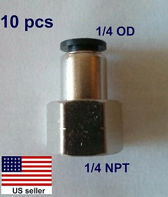 "10 pcs 1/4""OD,1/4""NPT Pneumatic Push-to-connect Straight Female Fitting (02-006)"
