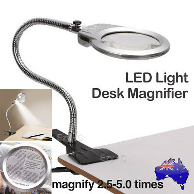 LED Lights Large Lens Lighted Lamp Desk Clamp Magnifier Magnifying Glass 2.5X 5X