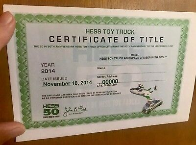 2014 Hess Truck & Space Cruiser & Scout Certificate of Title: FREE SHIPPING!