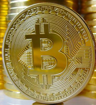 Gold Plated Physical Bitcoin in protective acrylic case FAST FREE SHIPPING