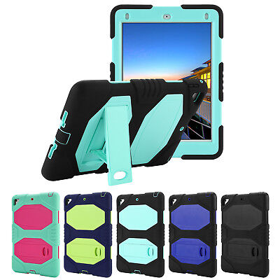 iPad 9.7 5th Generation Heavy Duty Rugged Stand Shockproof Case Cover for Apple