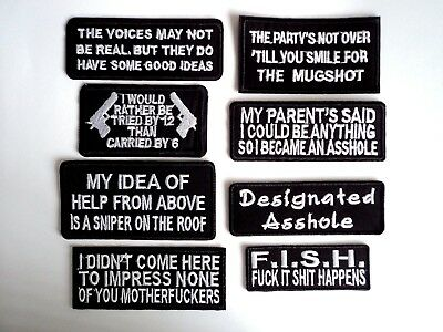 1x Smartass Words Biker Patches Embroidered Cloth Badge Applique Iron Sew On