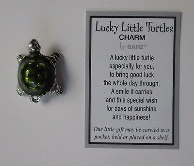 c LUCKY LITTLE TURTLE CHARM pocket token Good luck figurine wish pendant ganz