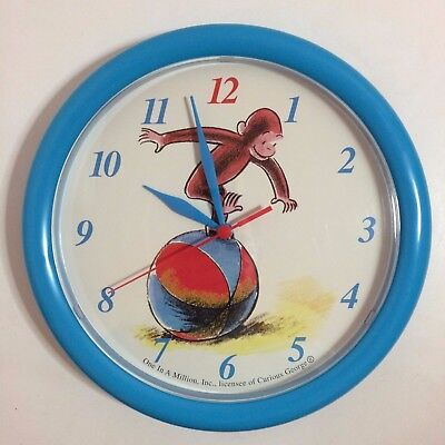Vintage Curious George Blue Wall Clock - One In A Million, Inc. 1997