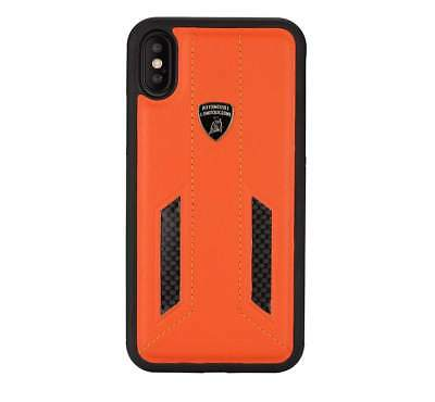 Lamborghini Huracan-D6 Leather Back Cover Case for iPhone X (Orange)