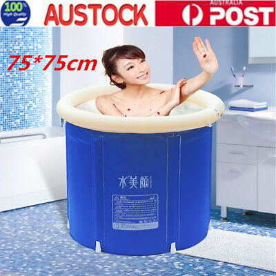 Folding Bathtub Portable PVC Foldable Water Tub Warm Spa Massage Bath Barrel