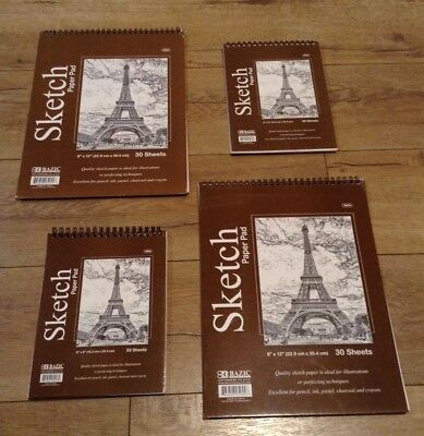 "BAZIC Set of 4 Premium SKETCH BOOK Paper Pad 6""x 8"",9"" x 12"" Same Day Shipping"