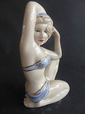 Pin Up Mariee Sexy En Maillot Porcelaine Style Annees 40 Baigneuse Mod Bleu Or